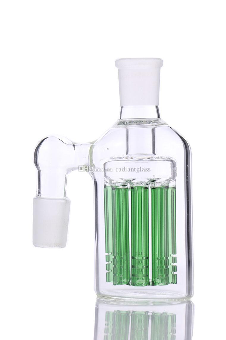 Hoodahs NUEVO 8 ARMOS ASH CENSH CENTRO 90 45 grados para bongs Bubbler de tubería de agua de vidrio 14mm 18mm