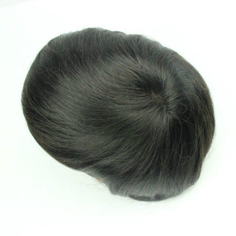 Estoque 6x8 7x9 8x10 polegadas homens toupee toupee tamanho mono lace top suíço lace frontal e pu em torno de homens toupee peça de cabelo