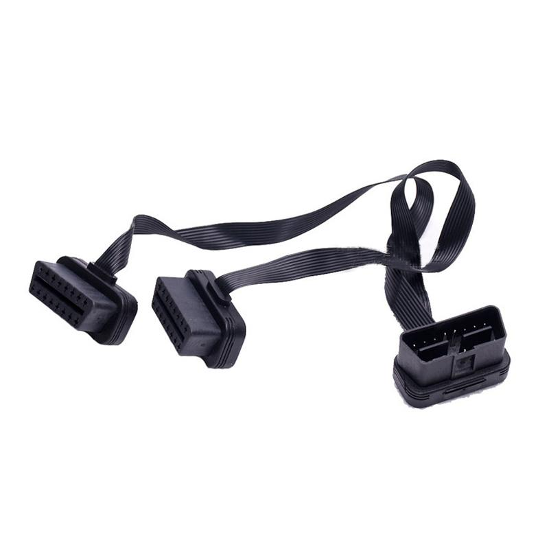 1 to 2 Adapter Line Ribbon Cable 16 Pin OBD2 Extension Line 90 Degree Elbow Wire L Type OBD Cable Adapter Use For OBD2 Interface Cars HOT