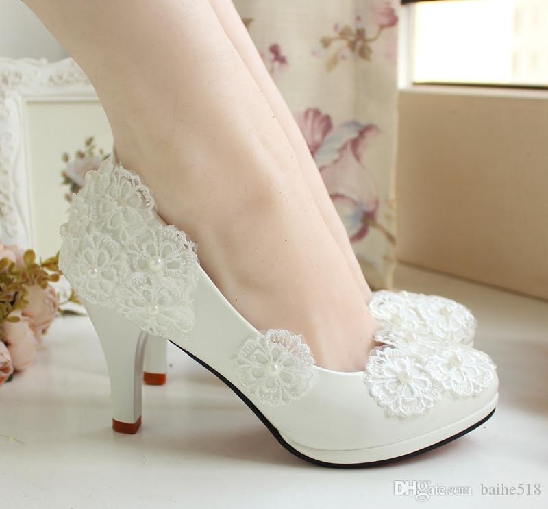 New With Wedding Shoe White Lace Flower Dress Shoes By