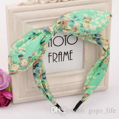1 STÜCKE Blumen Haarband Stoff Schmetterling Bogen Knoten Haarband Kaninchenohren Stirnband für Headwear Frauen Haar Zubehör 2017 HEIßER