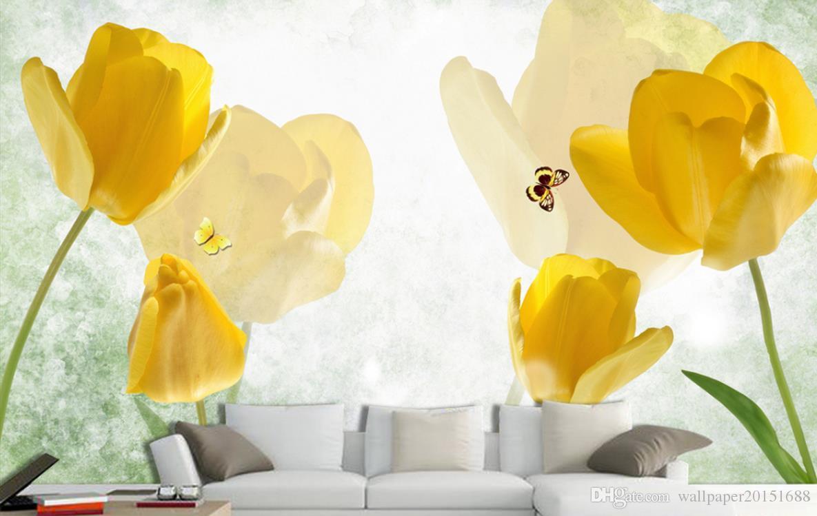 Retro Amarelo Tulipa Borboleta TV Poster 3d papel de parede 3d papéis de parede para tv cenário