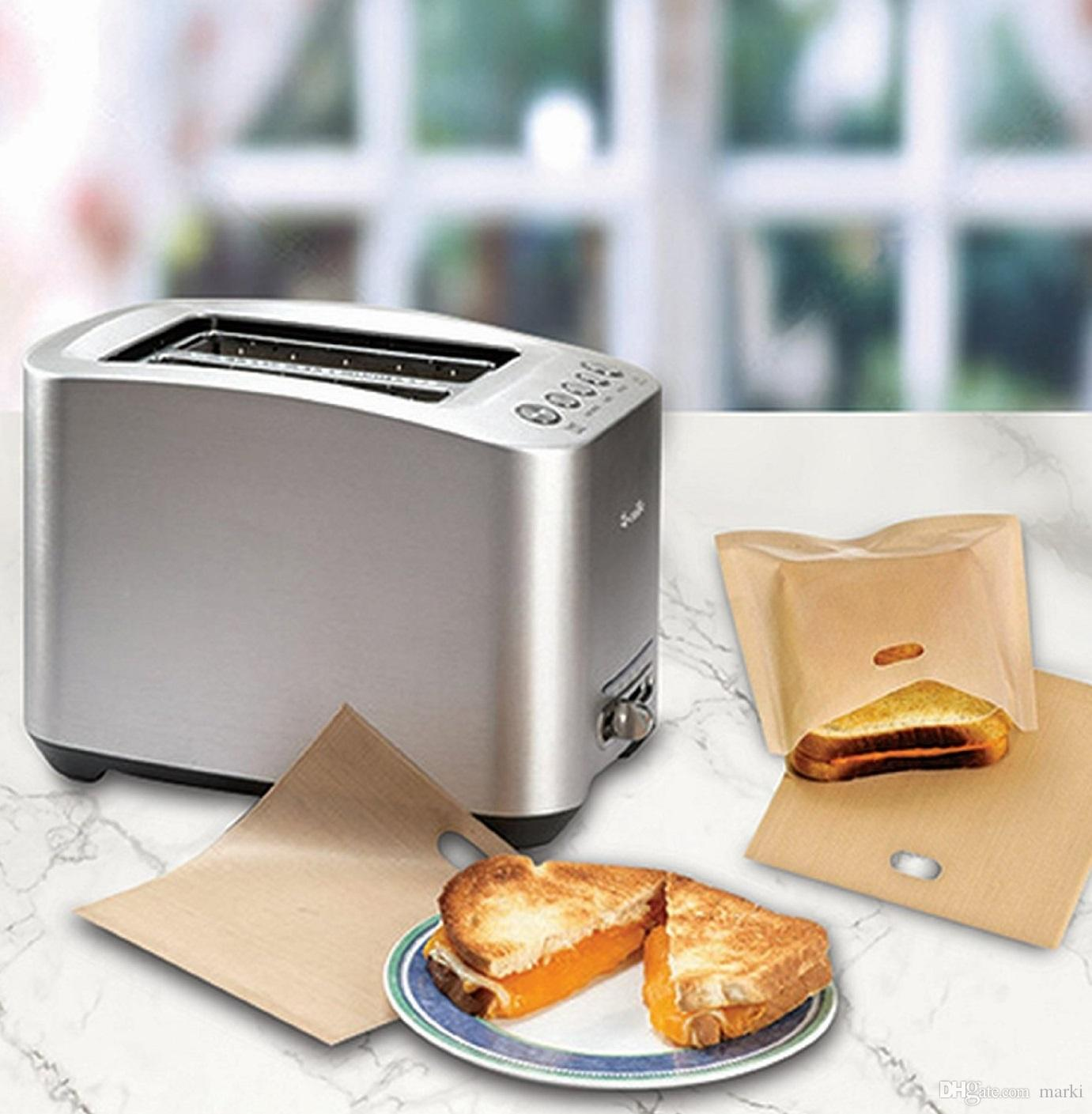 16*16.5CM Reusable Toaster Bags Safe Non Toxic BBC Microwave Oven Bag Not Sticky Toast Toastabags Make A Perfect Toasted Sandwich wn080