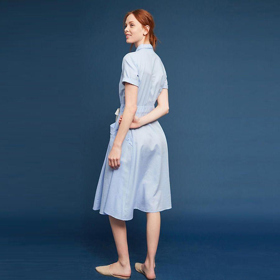 Women Long Dress Lapel Summer Slim Solid Color Fashion Runway ...
