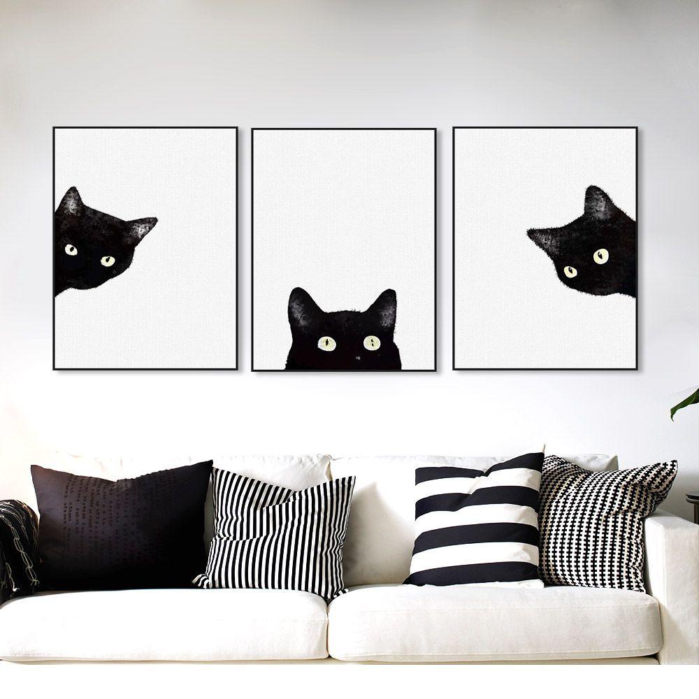 Satın Al 3 Parça Siyah Kediler Başkanı Modern Sevimli Hayvan Tuval