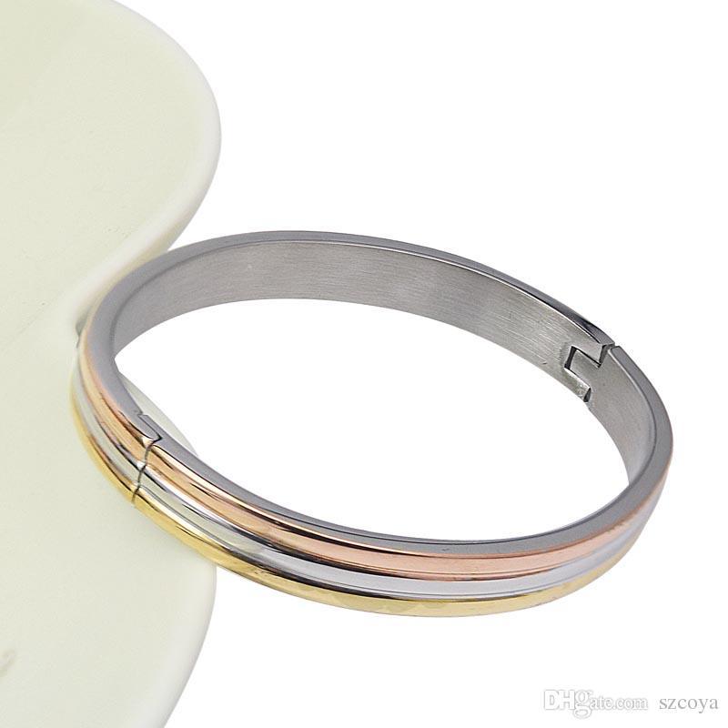 2017 Fashion Silver Gold Stainless Steel Bangles Bracelet For Women Jewelry Cuff Christmas gift brazalete pulseras joyeria mujer