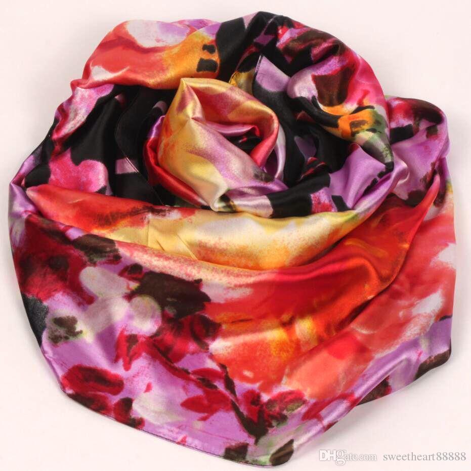 9STYLES Lavanda Red Black Lily Flower moda donna pittura a olio satinata scialle lungo spiaggia sciarpa di seta 160X50 cm S82-s90