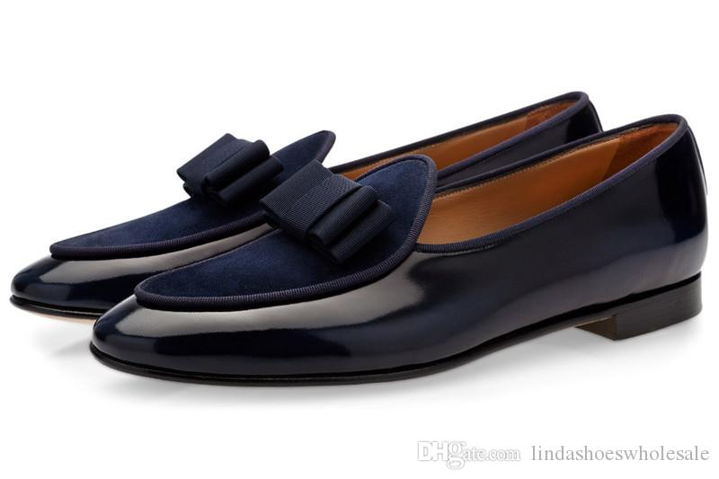 more photos cf1d1 f6830 Uomini di marca scarpe a punta Papillon Slip On Mocassini Scarpe da uomo di  alta moda Fatti a mano e da sposa Appartamenti maschili Large Size EU 46