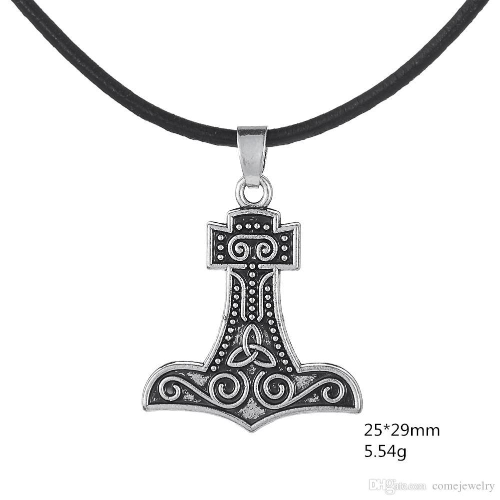 Gothic Thors Hammer Mjolnir Nordischen Symbolischen Gott des Donners Viking Thor Plus Halskette Retro Rune Anhänger Männer Schmuck