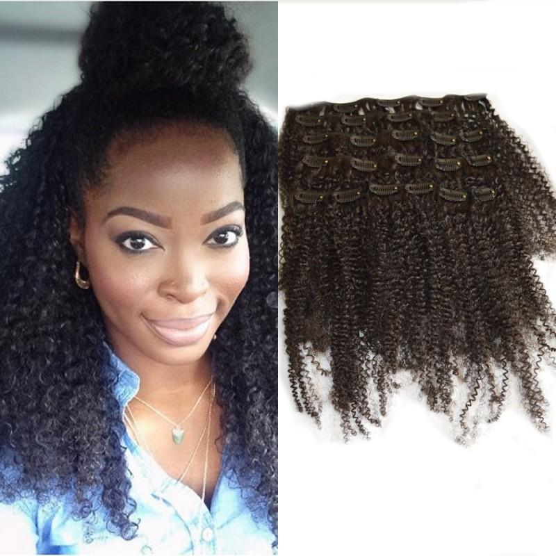 Clip In Human Hair Extension For Black Women Afro Kinky Curly