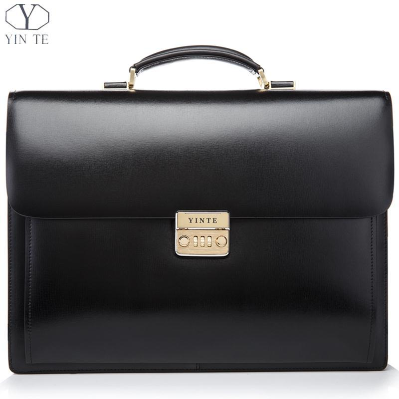 wholesale yinte leather men s briefcase black bag high quality