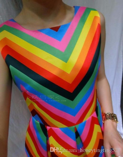 2016 novas mangas o-pescoço cor gradiente tarja do arco-íris vestidos vestido vestido tanque vestido de bola de design das mulheres S M L XL