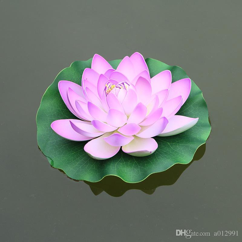 Dianmeter 28 cm EVA Künstliche Lotus Blume Wasser Pool Aquarium Decor Pflanzen Bastelbedarf für Hochzeit Dekoration