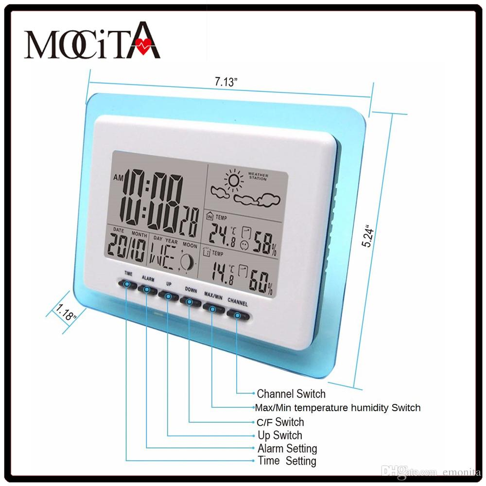 best sell mocita blue frame wireless weather station with digital temperature humidity weather forecast alarm clock - Wireless Photo Frame