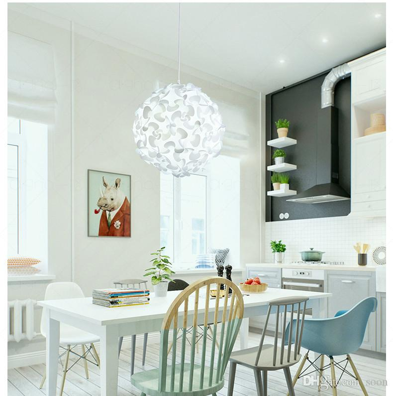 discount white round flower ball pendant light nordic simple dining room bedroom hanging light modern creative clothes store lamp hanging lights ceiling
