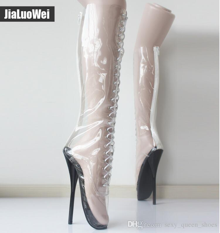 ea15acb549 2019 New Women/Man Sexy Ballet Boot Fashion Dancing Shoes Round Toes Transparent  Clear Viny Thin Sexy High Heels Knee Boots Low Boots Cheap Shoes Online ...