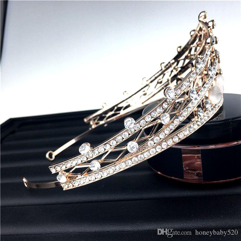 Rose Gold Plated Princess Bridal Jewelry Wedding Crystal Rhinestone Headband Hairband Headpiece Crown Tiara Hair Accessories Prom Wholesale