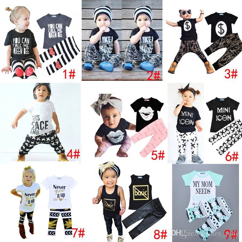 DHL 9 Styles Enfants Ins Vêtements Ensembles Bébé Mode Costumes Filles Lettre T-Shirt Pantalon Infantile Tenue décontractée Garçons Ins Tops Harem Pantalon 1-5T