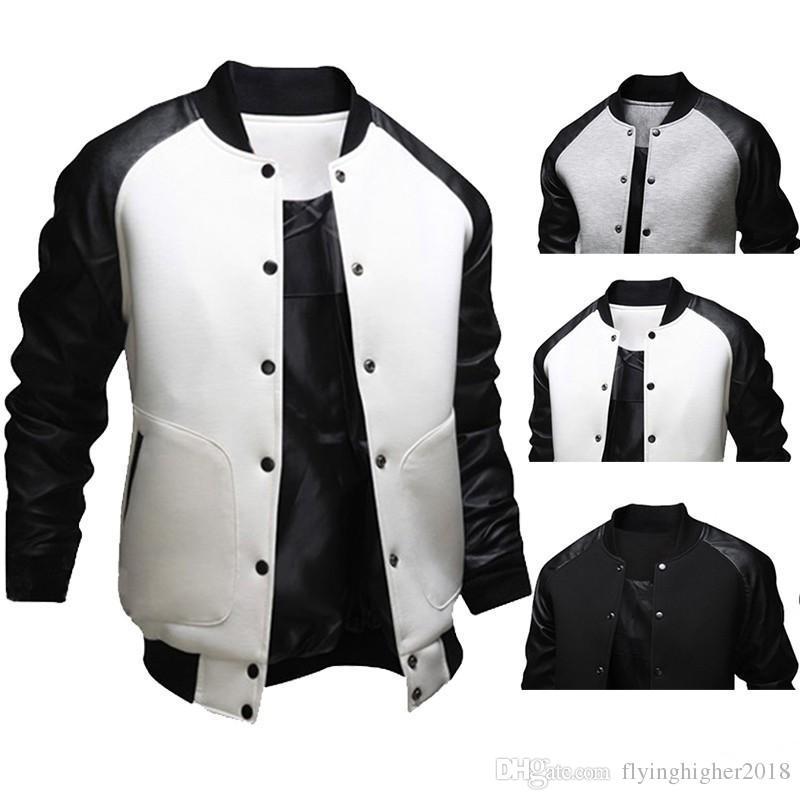 Fashion Mens Fall American Style Varsity Baseball Letterman College University Jacket Coat M-XXL