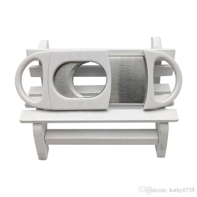 Best Selling Smoking Accessories Herramientas pequeñas Accesorios Doble Cigar Tijeras Cortador Color blanco para fumadores al por mayor