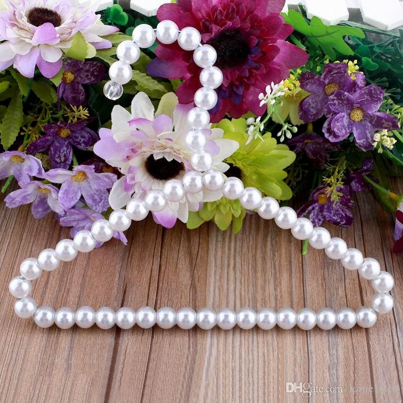 Beautiful 21cm Pearl Kid Baby Pet Dog Clothes Hanger Plastic White Hangers For Clothing Shop and Home Laundry Product