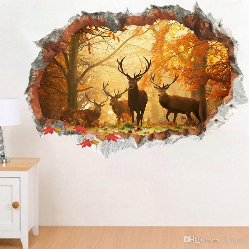 3D Broken Deer Elk Forest Wall Sticker Children Room TV Background Wall Mural Sticker Decorations Decals Art Stickers