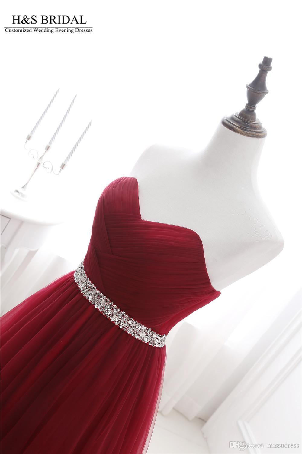 Sweetheart Beaded burgundy prom dresses Tulle A-line prom dress Lace Up Strapless Long Evening Dresses Real Photos Evening Gown