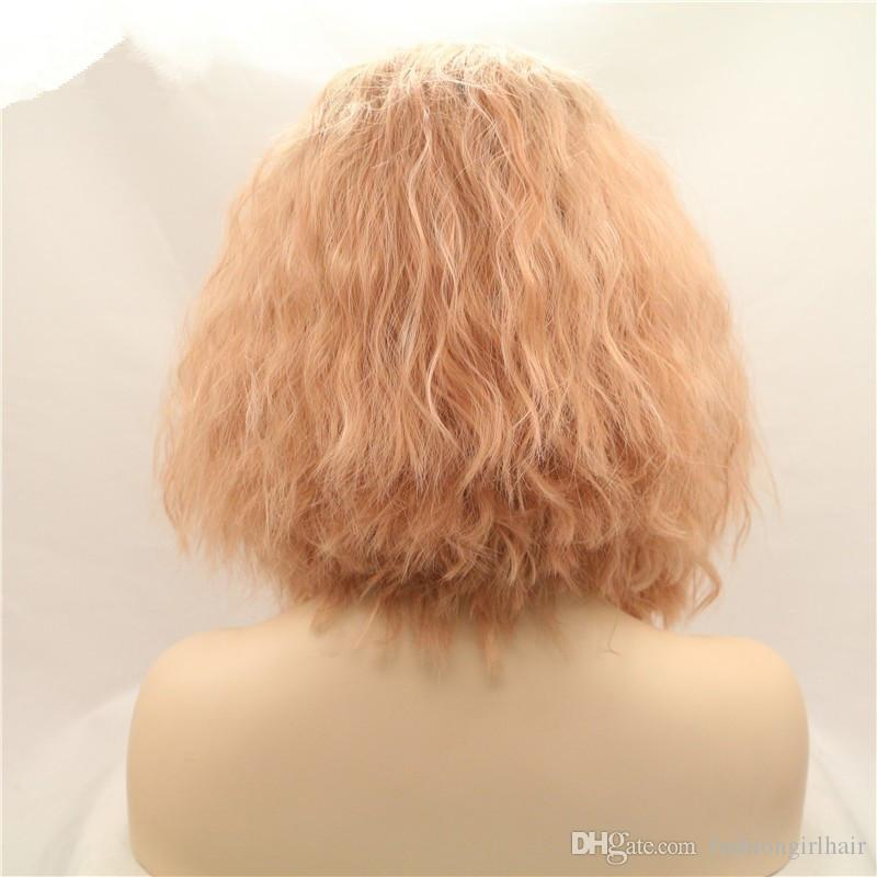 Hotselling pink ombre short bob synthetic lace front wigs peach pink water wave heat resistant fiber hair natural hairline