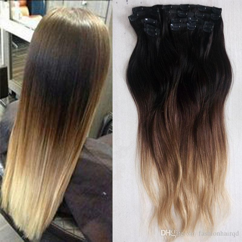 160g 24 26 28 Inch Ombre Brazilian Clip In Human Hair Extensions T1b