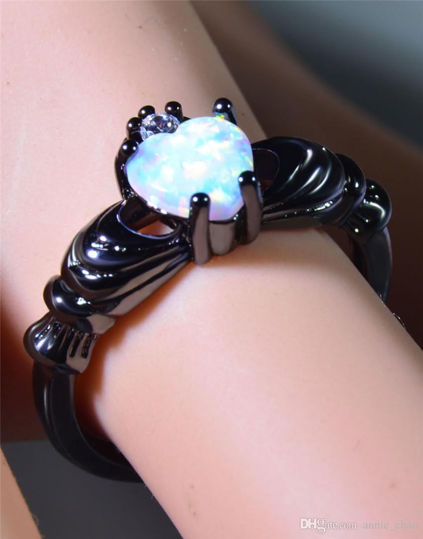 Vendita all'ingrosso al dettaglio di moda bianco fuoco opale anelli 10KT oro nero riempito RJL170508001