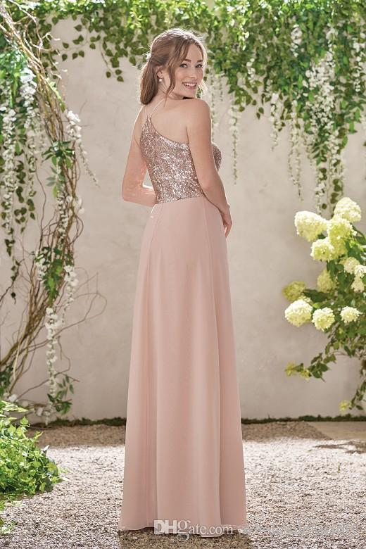 Rose Golden A Line Bridesmaid Dresses 2017 Simple Long Chiffon Bridesmaid Gowns Jewel Neck Off the Shoulder Wedding Guest Dresses Hot Sale