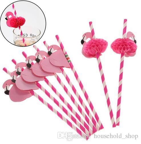 Flamingo Paper Straws Disposable Honeycomb Suckers Cartoon Bird Straw Stripe Paper Sucker for Drinking Cocktail Juice Party Wedding Decor