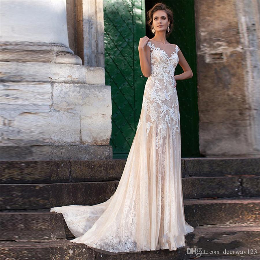 레이스 웨딩 드레스 2020 환상 Neckline Appliques 빈티지 신부 가운 가운 드 모국어 씨앗 웨딩 드레스 깎아 지른 뒤로 Vestido