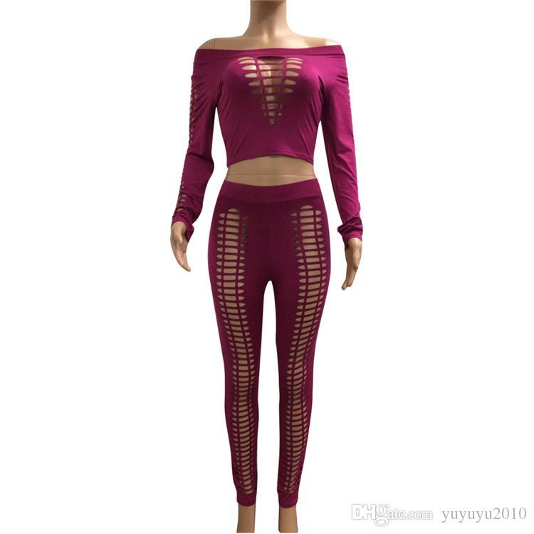 2017 из двух частей женский топ и брюки сексуальный вырез с длинным рукавом спортивный костюм выдалбливают Bodycon эластичный 2 шт. Наряды