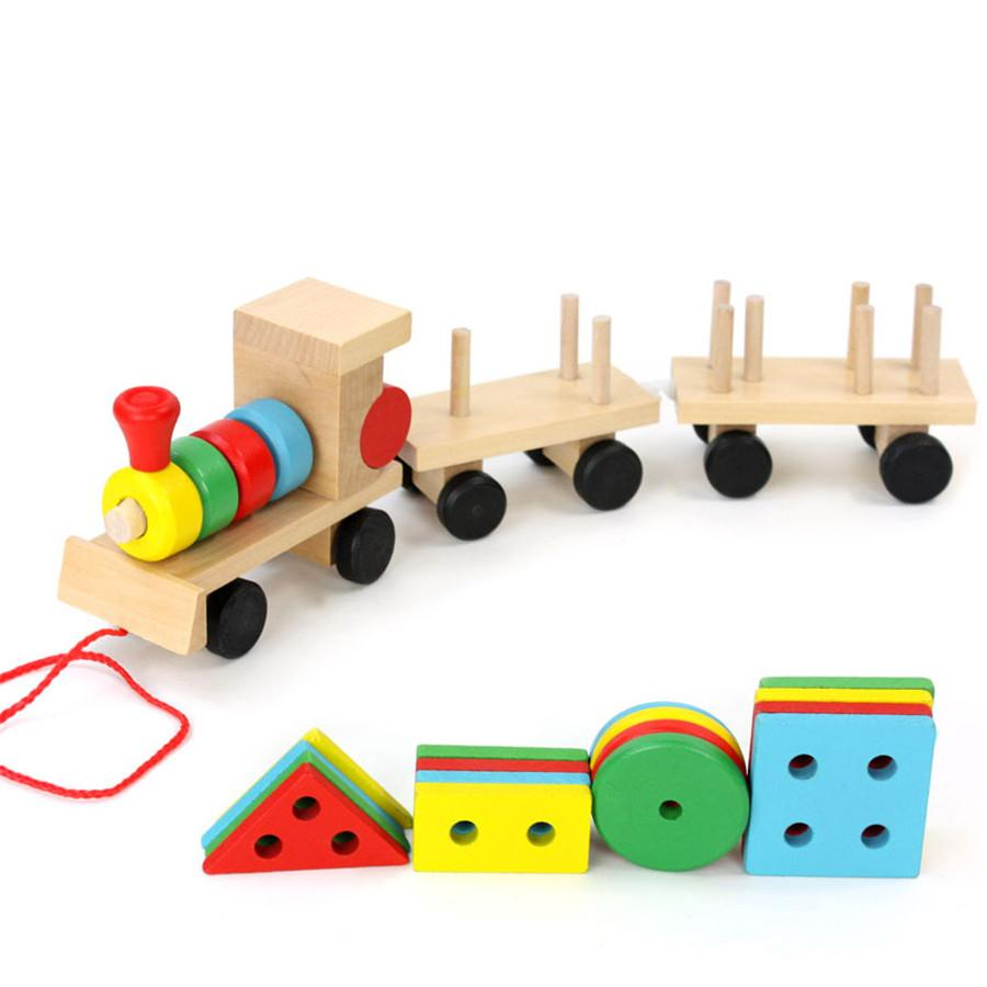 wholesale- kids puzzle montessori geometric shape build wooden toys  children train vehicle set combination educational gift toys cu38