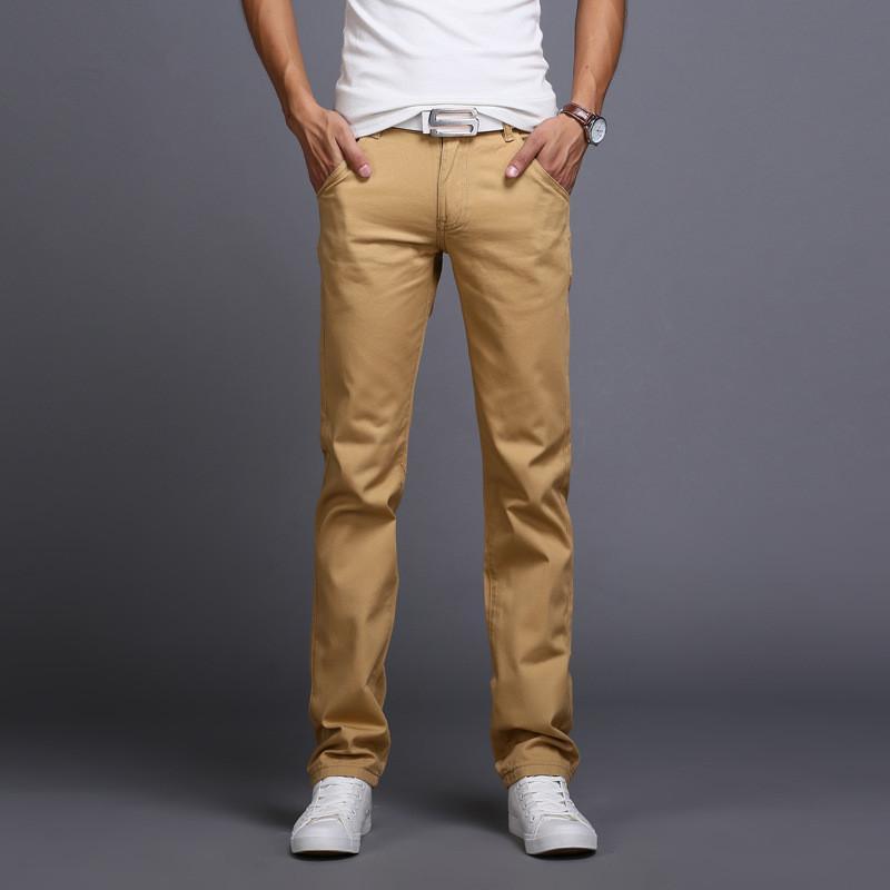 101c0a5c2b2d Wholesale-2016 New Men Business Casual Slim Pants Mid-Waist Trousers ...