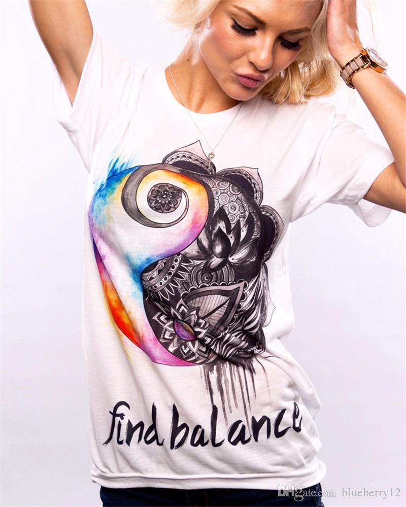 Mulheres Camisetas Europa e América Verão Moda Feminina Estampas de Algodão de Manga Curta O-pescoço T-shirt 9 Cores Tops camisa