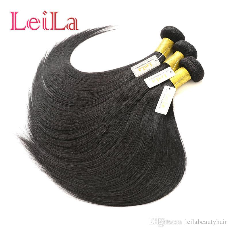 Paquetes de cabello humano de Malasia 3 piezas / lote 8-28 pulgadas Extensiones de cabello Mink Mayoristas 95-100g / piece Leila Bundles Natural Color