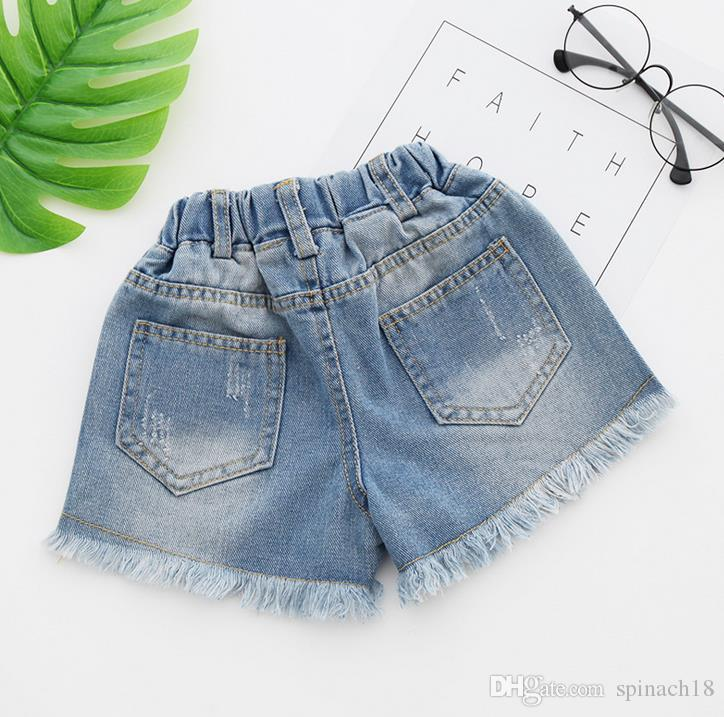 2017 Jeans Shorts for Girls Summer Style Denim Kids Panties New Jeans Shorts Hole Tassels Children Girls Denim Shorts 3210