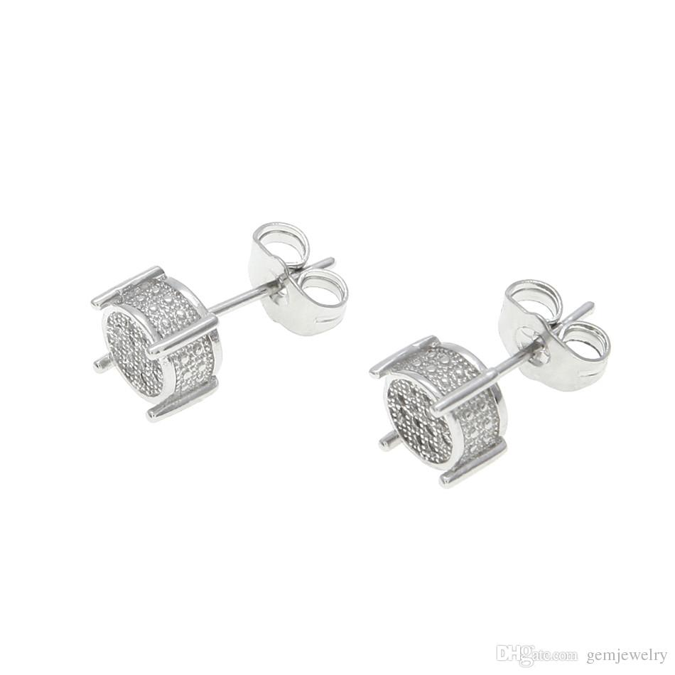 Hip hop Men Silver Earring Shining CZ Round Stud Earrings Screw back Women Trendy Jewelry 9mmx9mm