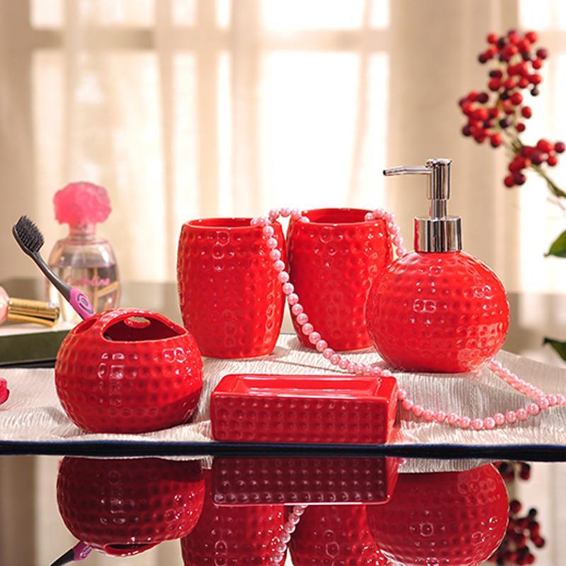 discount red bathroom accessories sets porcelain bathroom sets ceramic golf ball shape dimpled grain design white