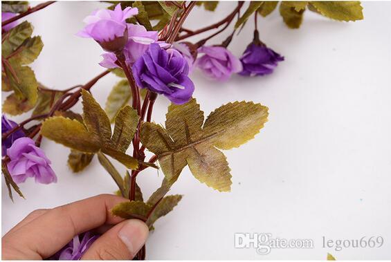 Simulazione rose rattan fiori finti viti stile europeo retrò piccola rosa appeso a parete fiori decorazione domestica