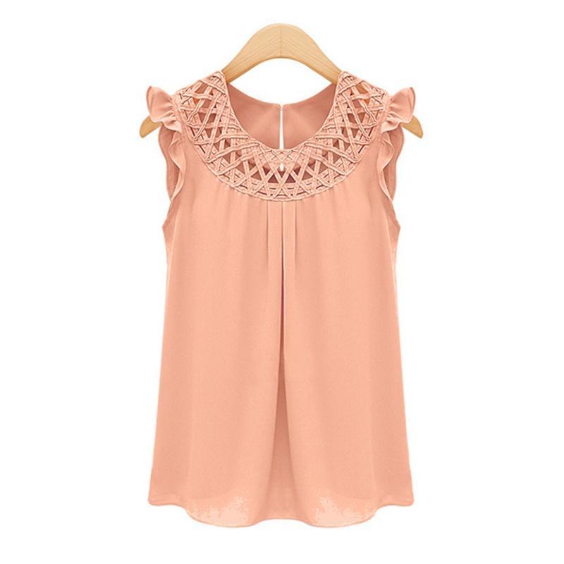30de0a0239d 2019 2017 Elegant Summer Sleeveless Blouses Blusas Chiffon O Neck Blouse  Womens Chemise Femme Woman Clothes White Vintage Shirt Tops From  Bigbangtop