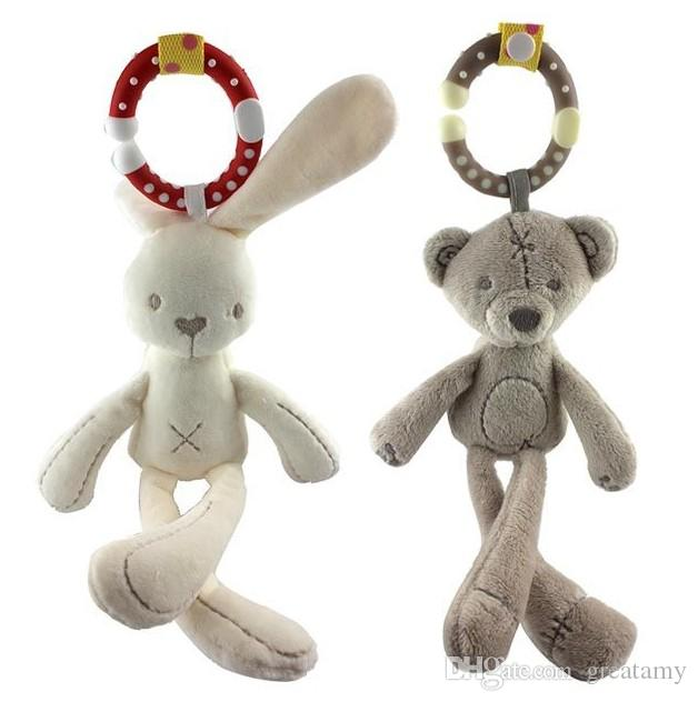Wholesale- Cute Infant Rabbit Bear Baby Toys Plush Rattles Crib Bed Stroller Hanging Bell Doll Soft Musical Mobile Toy Carriages Kids Gift