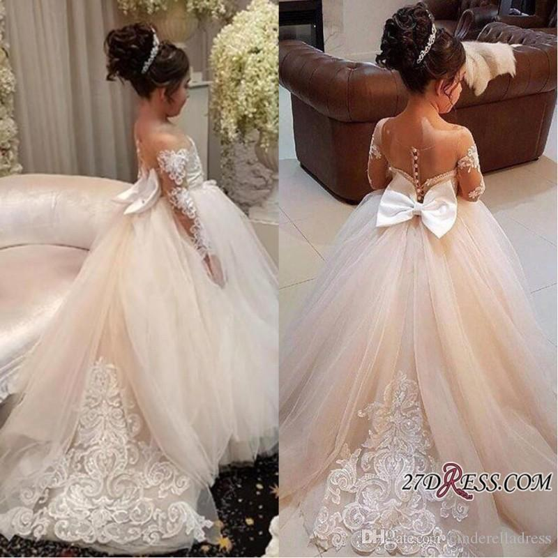 e88b396f36d 2018 New Design Tulle Little Flower Girls Dresses Court Train Long Illusion  Sleeves First Communion Dress Girl Pageant Custom Made BA7399 Ivory Lace  Flower ...