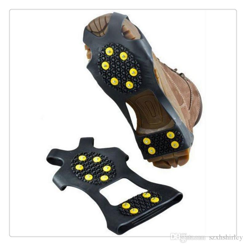 4e21d3b42339d4 2019 New 10 Steel Studs Ice Snow Grips Over Shoe Boot Cover Traction Cleat  Rubber Spikes Anti Slip Ski Snow Hiking Climbing Gripper From Szxhshirley