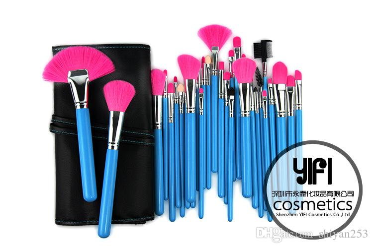 New Professional Makeup Brush Set Cosmetic Kit Foundation Powder Make up Brushes Beauty Facial care+Bag Blue Rose