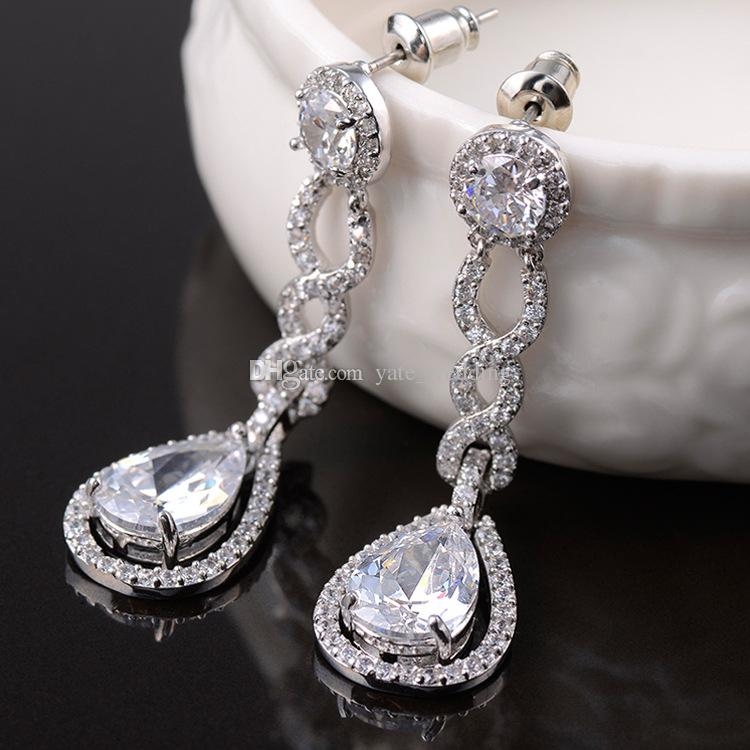 Vintage Crystal Bridal Earrings Long Silver Dangle Wedding ...
