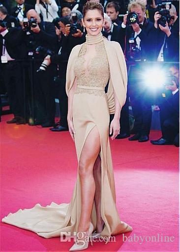 Oscar Hot Red Carpet Celebrity Vestidos de Noite Bainha Alta Neck Ilusão Lace Appliqued Alta Dividir Formal Vestidos de Festa Do Buraco Da Fechadura Sem Encosto