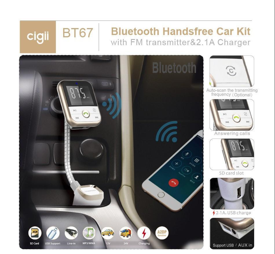 Nuevo Multifunción 3 en 1 Kit Bluetooth para el coche Tarjeta SD Reproductor de Mp3 Manos libres Transmisor de FM Cargador Dual USB 2 BT67 Bluetooth Cargador de coche
